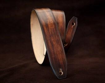 Leather guitar strap  - Slim version -  Handmade dark brown leather guitar strap