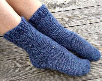 Hand Knit socks Wool knit socks Knitted socks Knit wool socks Winter knit socks Knit cable socks Bed socks Womens slipers socks womens gift