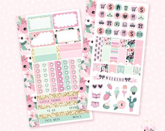 Prickly Pink - Personal sice, 2 page kit / Mini sticker kit for personal planners