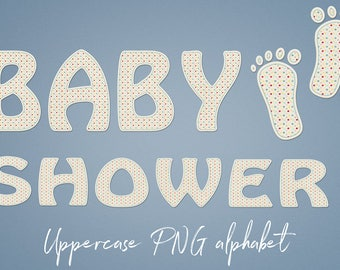 Baby Alphabet Clipart, Baby Shower Letters, PNG Alphabet Letters, Cute Letters, Uppercase Font For Invitations, Cards, Baby Party, BUY5FOR8