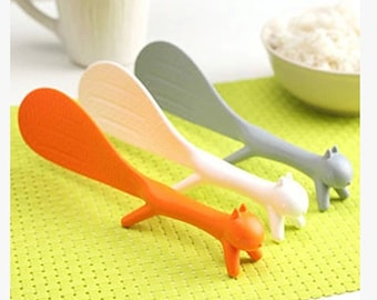 Cute squirrel can vertical spoon, sticky rice, plastic rice spoon
