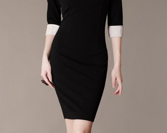 Audrey Hepburn Style Dress, Black and White Peter Pan Collar Evening Dress, Custom Fit Dress, Classy New Dress, Chic Evening Dress-CJ13