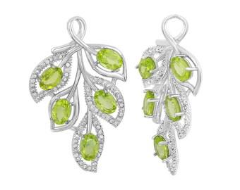 1 Pc 23x30 mm Peridot Natural Leaf Gemstone Pendant (GSP100224)