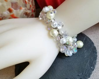Crystal Pearl Dangle Bracelet, Crystal Pearl Fringe Bracelet, Cha Cha Beaded Bracelet, Handmade Jewelry