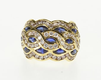 14k Wavy Marquise Sapphire* Channel Encrusted Ring Gold