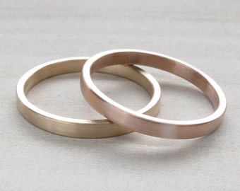Hers and Hers wedding band set - 2x1mm Bespoke recycled eco-friendly solid 14k yellow gold wedding band set - Lesbian Wedding