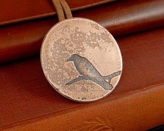 Raven brooch, etched copper raven, copper bird jewellery, copper jewellery, copper brooch, poetry jewellery, Edgar Allen Poe jewellery