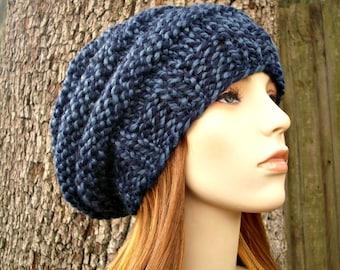 Knit Hat Womens Hat - Original Beehive Beret Hat in Twist Blue Knit Hat - Blue Hat Blue Beret Blue Beanie Womens Accessories