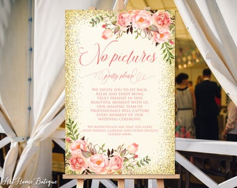No Pictures Sign, No Pictures Pretty Please, No Pictures Wedding Sign, Unplugged Sign, Ivory, Coral, W227