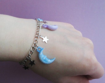 pastel goth moon and star bracelet, kawaii jewelry, pastel grunge