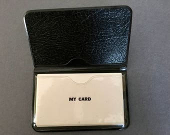 """Vintage Business Card Holder/ Faux Leather Holder/ Joke Business Cards MY CARD/ 11 Business Cards Marked """"MY Card""""/ From Magician's Estate"""