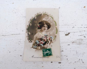 Antique 1900/1910s postcard  French real photo recolored women with bouquet Birthday