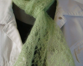 Hand Knit Delicate Lacy Light Green Narrow Scarf