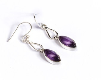 Dangle Amethyst Black Onyx Gemstone Sterling Silver Earrings Simple Jewellery Chevron Design Free UK Delivery Gift Boxed