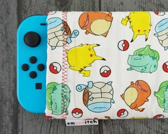 I Choose You! Cute Pokemon Patterned Nintendo Switch Protective Fabric Pouch Case - Gen 1 starters Pikachu, Squirtle, Charmander, Bulbasaur