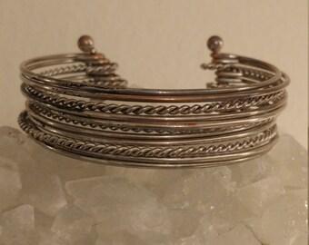 Vintage Attached Stackable Silvertone Cuff Bracelet