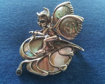 Cyvra Vintage Sterling and Abalone Pixie Elf Brooch Pin