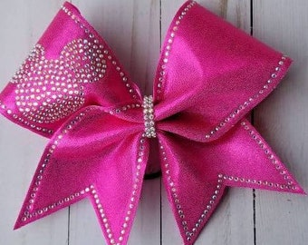 Mickey Cheer Bow ~ Outlined bling Mickey Bow
