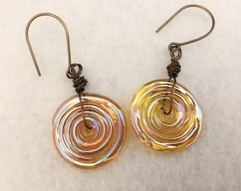 Earrings, irridescent gold lampwork glass bead earrings with antique bronze wirework, original set, handmade and a perfect gift