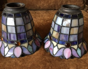 Vintage stained glass lamp shade (2)