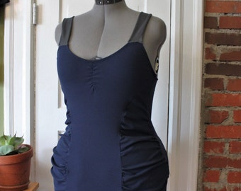 Custom Princess Seam Ruched Tankini Swimsuit Dress  /Any Size /30+ Colors and Prints /Made to Measure