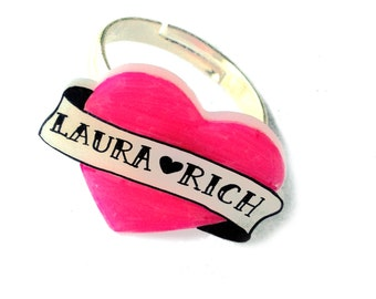 Heart Banner Ring - Valentine's - Personalised Name Banner Heart - Love - Tattoo Inspired - Two Names on Small Love Heart