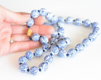 Vintage Porcelain knotted bead necklace, chinoiserie, long, navy, white, asian, porcelain