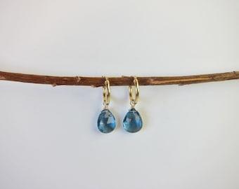 London Blue Topaz 14K Gold Handmade Earrings