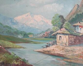Antique Oil Painting Mountain River Landscape Village