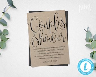Couples Shower Invitation Template, Printable Wedding Shower Template, Script Couples Shower Invite, Instant Download