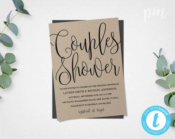 Wedding Shower Invitations For Couples: Couples Shower Invitation Template Printable Wedding Shower