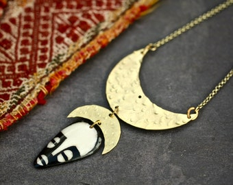 african necklace african inspired gold necklace statement necklace african mask boho necklace boho jewelry boho jewellery bib necklace brass