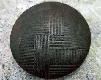 Outstanding Vintage Black Pierced Pressed Wood Coat Button ~ Interlaced Basketweave Pattern Design ~ 1-1/2 inch 38mm ~ Wooden Sewing Button