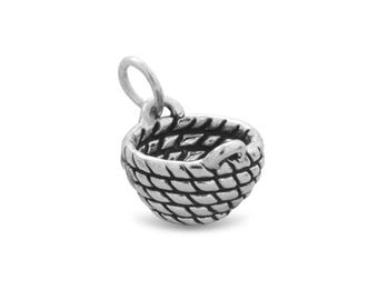 Sterling Silver Woven Basket Charm Pendant 3d