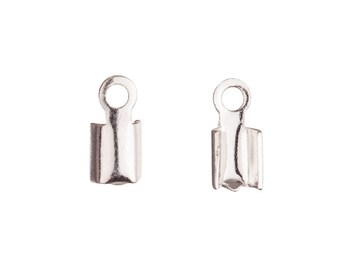 Fold-Over Cord End Silver Plated Brass fits 2mm Cord sold per pack of 30