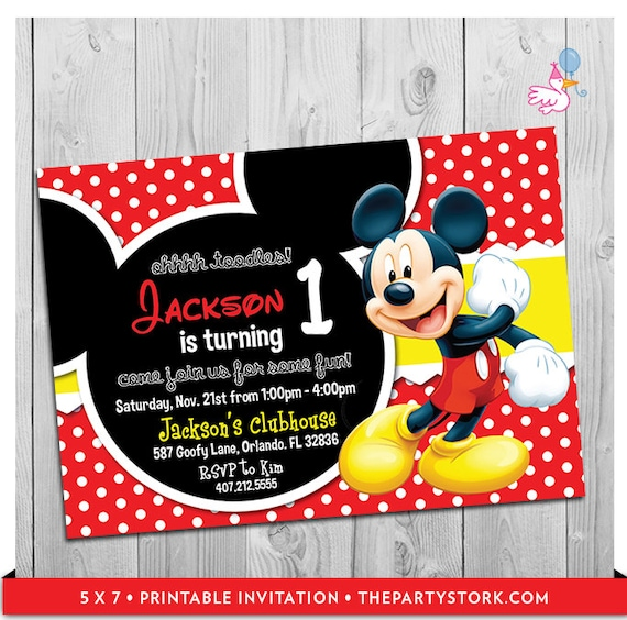 Juicy image with mickey mouse printable birthday invitations