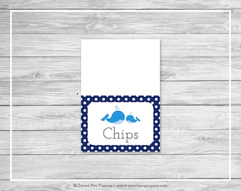 Whale Baby Shower Buffet Labels - Printable Baby Shower Buffet Labels - Blue Whale Baby Shower - Food Labels - EDITABLE - SP127