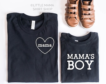 Mommy and Me Shirts |  Set of 2 Mom and Son Matching Shirts | Boy Mom Shirt | Mama and Mama's Boy |  Mom and Son Shirts |  Mom of Boys