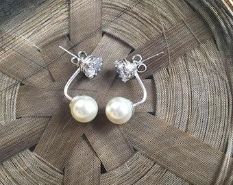 Sterling Silver and Cream Pearl Ear Jacket  Earrings 8mm