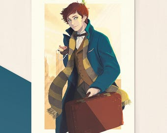 Newt Scamander • A6 Art Print on 300gr matte print, tribute to Fantastic Beasts and Where to find them, Harry Potter, Eddy Redmayne