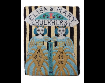 The Biddenden Maids Original Embroidered Needle Painting, Conjoined Twins, Siamese Twins, Folk Art, England, History, Medieval, Stripes
