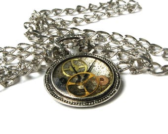 Steampunk watch necklace, Watch parts pendant, Clock pendant necklace, Silver resin jewelry, Clockwork, Clock gear necklace, Gift under 20