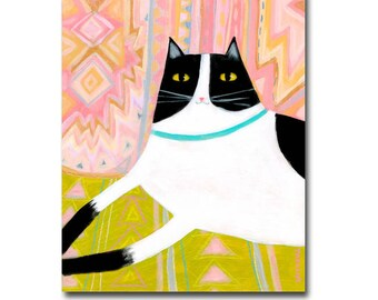 ORIGINAL cat painting South West pastel colored pillows with black and white cat original acrylic cat folk art painting by Tascha