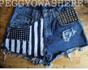 8 PEGGYOWASHERE OOAK cutoff denim shorts American Flag & Studs Bohemian art jean SF 8