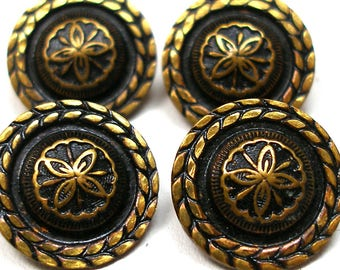 "4 Antique buttons, Victorian brass with flower & leaf design. 5/8""."