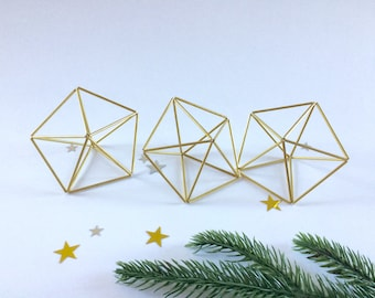 Set of three - Star Prism Brass Himmeli