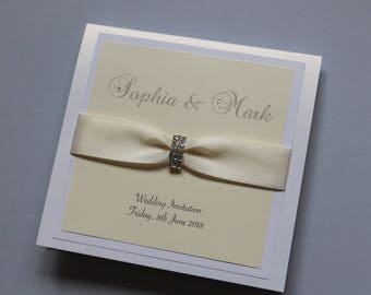 Luxury Ribbon and Crystal Buckle Wedding Invitation Suite - Any Colour Neaveh 2012