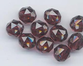Twelve Swarovski crystals - art 5025 - 8 mm - burgundy