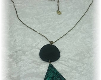 Electric collection - necklace geometric screen printed black and green metallic bronze