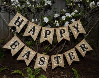 Easter Banner , Easter Decor Easter Bunny  Garland Rustic Easter Happy Easter Burlap Garland  Happy Easter Bunting, Easter Bunting